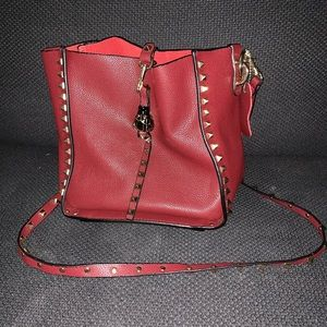 Handbags - Leather Studded Shoulder Bag